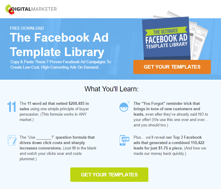 The Ultimate Lead Magnet Funnel Funnelytics - Facebook ad template library
